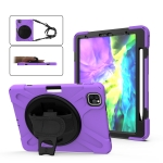For iPad Pro 12.9 (2020) 360 Degree Rotation Silicone Protective Cover with Holder & Hand Strap & Long Strap & Pencil Slot(Purple)