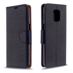 For Xiaomi Redmi Note 9 / Note 9S / Note 9 Pro Litchi Texture  Pure Color Horizontal Flip PU Leather Case with Holder & Card Slots & Wallet & Lanyard(Black)