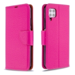 For Huawei P40 Lite Litchi Texture  Pure Color Horizontal Flip PU Leather Case with Holder & Card Slots & Wallet & Lanyard(Rose Red)