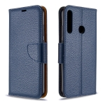 For Huawei P40 Lite E / Y7P Litchi Texture  Pure Color Horizontal Flip PU Leather Case with Holder & Card Slots & Wallet & Lanyard(Dark Blue)