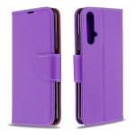 For Huawei Honor 20S Litchi Texture  Pure Color Horizontal Flip PU Leather Case with Holder & Card Slots & Wallet & Lanyard(Purple)