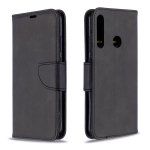 For Huawei P40 Lite E / Y7P Retro Lambskin Texture Pure Color Horizontal Flip PU Leather Case with Holder & Card Slots & Wallet & Lanyard(Black)