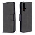 For Huawei Honor 20S Retro Lambskin Texture Pure Color Horizontal Flip PU Leather Case with Holder & Card Slots & Wallet & Lanyard(Black)