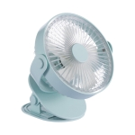 QW-F12 USB Charging Large Clip Mute Desktop Electric Fan, with 5 Speed Control (Blue)
