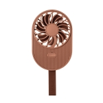 LLD-17 0.7-1.2W Ice Cream Shape Portable 2 Speed Control USB Charging Handheld Fan with Lanyard (Brown)
