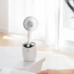 LLD-21 3.2-5.2W Splittable Shakeable 3-speed Control Cool Handheld Fan with Humidifier + Charging + Storage Integrated Base, Water Tank Capacity: 300ml(Black)
