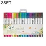 2 PCS 24 Color Single Row Double Head Hook Line Pen Color Marker Soft Head Watercolor Pen Art Supplies Children Gift Painting Set