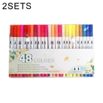 2 PCS 48 Color Double Head Hook Line Pen Color Marker Soft Head Watercolor Pen Art Supplies Children Gift Painting Set