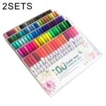 2 PCS 100 Color Double Head Hook Line Pen Color Marker Soft Head Watercolor Pen Art Supplies Children Gift Painting Set