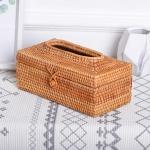 ZJH01 Restaurant Desktop Rattan Braided Tissue Storage Box Case, Size: L