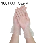 100 PCS Thicken Disposable Clear Food Grade PVC Powder-Free Insulation Waterproof Gloves, Size: M