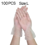 100 PCS Thicken Disposable Clear Food Grade PVC Powder-Free Insulation Waterproof Gloves, Size: L