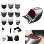 HJ-2018 Men Electric Shaver Fader Self-help Hair Clipper with Cloth + Sponge + Pure Steel Tooth Scissors +Plain Steel Scissors, Standard Version, CN Plug
