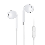 KIVEE KV-MT05 1.2m Wired Half In Ear 3.5mm Interface HiFi Earphones with Mic (White)