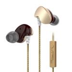 KIVEE KV-MT09 1.2m Wired In Ear 3.5mm Interface Mega Bass Sport Earphones with Mic (Gold)