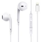 KIVEE KV-MT30 1.2m Wired Half In Ear 3.5mm Interface HiFi Stereo Earphones with Mic, Support iOS Pop-up Window Pairing