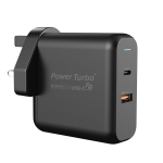 WIWU PT6021 Type-C / USB-C 2 in 1 Universal Quick Charging Travel Charger Power Adapter, UK Plug(Black)