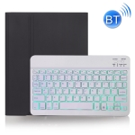 X-11BS Skin Plain Texture Detachable Bluetooth Keyboard Case for iPad Pro 11 inch 2020 / 2018, with Pen Slot & Backlight (Black)