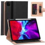 For iPad Pro 12.9 (2020) Retro Texture PU + TPU Horizontal Flip Leather Case with Holder & Card Slots & Hand Strap (Black)