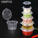 1000 PCS Thick Disposable Transparent Plastic Takeout Packaging Seasoning Box with Lid, Style: 1.5oz Siamese Cup 35ml