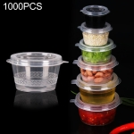 1000 PCS Thick Disposable Transparent Plastic Takeout Packaging Seasoning Box with Lid, Style: 1.5oz Siamese Cup 40ml