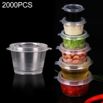 2000 PCS Thick Disposable Transparent Plastic Takeout Packaging Seasoning Box with Lid, Style: 1oz Siamese Cup 25ml