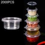 2000 PCS Thick Disposable Transparent Plastic Takeout Packaging Seasoning Box with Lid, Style: 3oz Split Cup 90ml