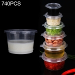 740 PCS Thick Disposable Transparent Plastic Takeout Packaging Seasoning Box with Lid, Style:350ml Split Cup