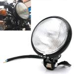 Motorcycle Black Shell Glass Retro Lamp LED Headlight Modification Accessories (White)