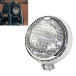 Motorcycle Silver Shell Harley Headlight Retro Lamp LED Light Modification Accessories (White)