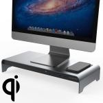 Vaydeer Desktop PC Display Heightening Shelf Storage Rack with 4 USB Port, Wireless Charging Version