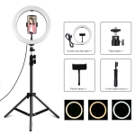 PULUZ 1.1m Tripod Mount +10.2 inch 26cm USB 3 Modes Dimmable Dual Color Temperature LED Curved Diffuse Light Ring Vlogging Selfie Photography Video Lights with Phone Clamp(Black)