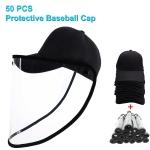 50 PCS Anti-Saliva Splash Anti-Spitting Anti-Fog Anti-Oil Protective Baseball Cap Mask Removable Face Shield(Black)