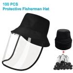 50 PCS Anti-Saliva Splash Anti-Spitting Anti-Fog Anti-Oil Protective Cap Mask Removable Face Shield(Black)