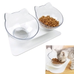 Pet Cat Dog Non-slip and Drop-proof Double Bowl Food Box (White)