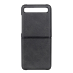 For Galaxy Z Flip Two-color Cow Leather Texture Folding Protective Case (Black)