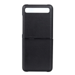 For Galaxy Z Flip Genuine Leather Lambskin Texture Folding Protective Case(Black)