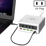 868W 6 in 1 QC 3.0 USB Interface + 3 USB Ports + PD 65W Ports + QI Wireless Fast Charging Multi-function Charger with LED Display, US Plug (White)