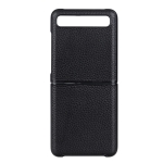 For Galaxy Z Flip Litchi Texture Genuine Leather Folding Protective Case(Black)