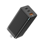 Baseus CCGAN-A01 65W 2 USB-C / Type-C + USB Ports GaN Mini Fast Charge Charger with Foldable Pins, CN Plug(Black)