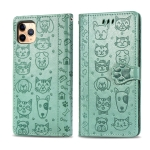 For iPhone 11 Pro Max Cute Cat and Dog Embossed Horizontal Flip PU Leather Case with Holder / Card Slot / Wallet / Lanyard(Grass Green)