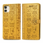 For iPhone 11 Cute Cat and Dog Embossed Horizontal Flip PU Leather Case with Holder / Card Slot / Wallet / Lanyard(Yellow)