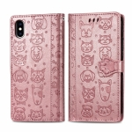 For iPhone XS/X Cute Cat and Dog Embossed Horizontal Flip PU Leather Case with Holder / Card Slot / Wallet / Lanyard(Rose Gold)