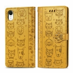 For iPhone XR Cute Cat and Dog Embossed Horizontal Flip PU Leather Case with Holder / Card Slot / Wallet / Lanyard(Yellow)
