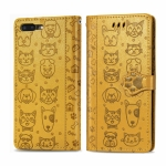 For iPhone 8Plus/7Plus Cute Cat and Dog Embossed Horizontal Flip PU Leather Case with Holder / Card Slot / Wallet / Lanyard(Yellow)