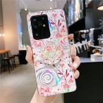For Galaxy A71 Colorful Laser Flower Series IMD TPU Mobile Phone Case With Folding Stand(Lyre Coral   KB4)