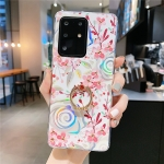 For Galaxy A51 Colorful Laser Flower Series IMD TPU Mobile Phone Case With Ring Bracket Rhinestones(Lyre Coral   KC4)