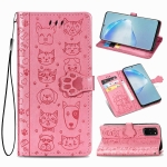 For Galaxy S20 Plus Cute Cat and Dog Embossed Horizontal Flip Leather Case with Bracket / Card Slot / Wallet / Lanyard(Pink)