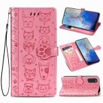 For Galaxy S20 Cute Cat and Dog Embossed Horizontal Flip Leather Case with Bracket / Card Slot / Wallet / Lanyard(Pink)