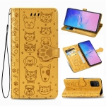 For Galaxy S10 Lite/A91 Cute Cat and Dog Embossed Horizontal Flip Leather Case with Bracket / Card Slot / Wallet / Lanyard(Yellow)